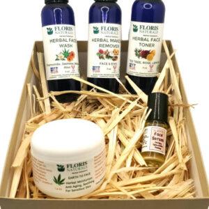 Natural Organic Face Toner, Makeup Remover, Face Wash and Face Serum Set
