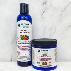 Natural Herbal Shampoo & Hair Conditioner Set - Floris Naturals