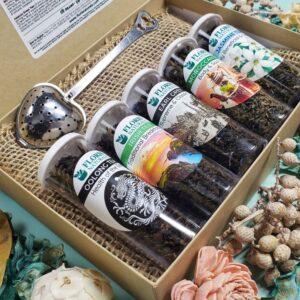 Natural Loose Leaf Tea - Around The World Sampler Gift Box - Floris Naturals