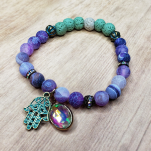 Floris Naturals - Agate-Purple Hamsa 8mm
