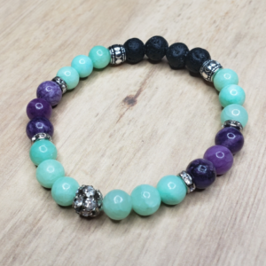 Floris Naturals - Aqua-Purple Quartzite Rhinestone 8mm