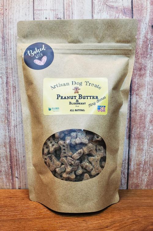 Natural Organic Dog Treats - Peanut Butter & Blueberry Tiny Bones - Floris Naturals