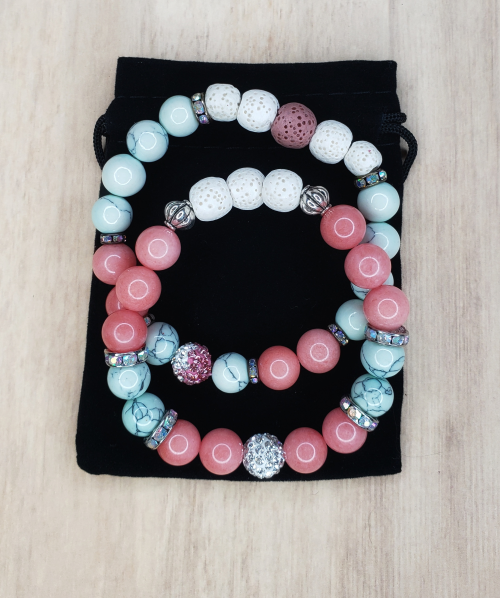 Floris Naturals - Rose Quartz-Turquoise-Rhinestone Set of Two