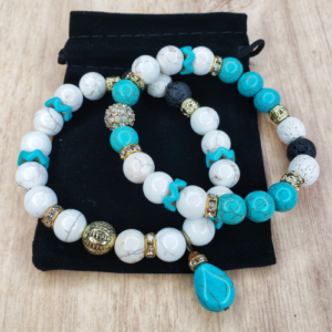 Floris Naturals - Turquoise-Howlite-Rhinestone Set of 2
